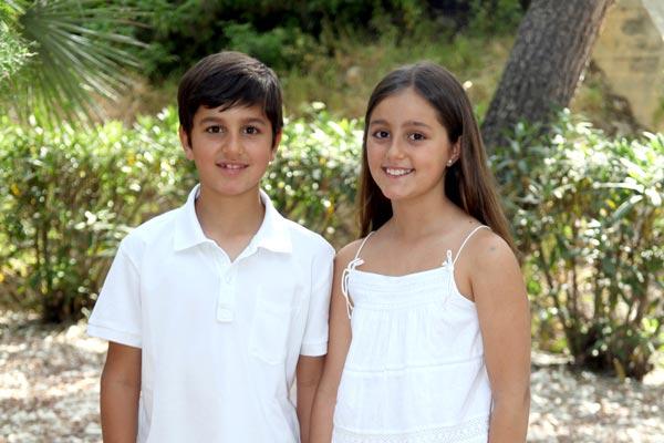 Capitán y Abanderada infantiles: Darío Martínez García y Adriana Martínez García